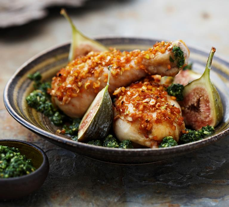 Kyllingelår Med Figner Og Pesto